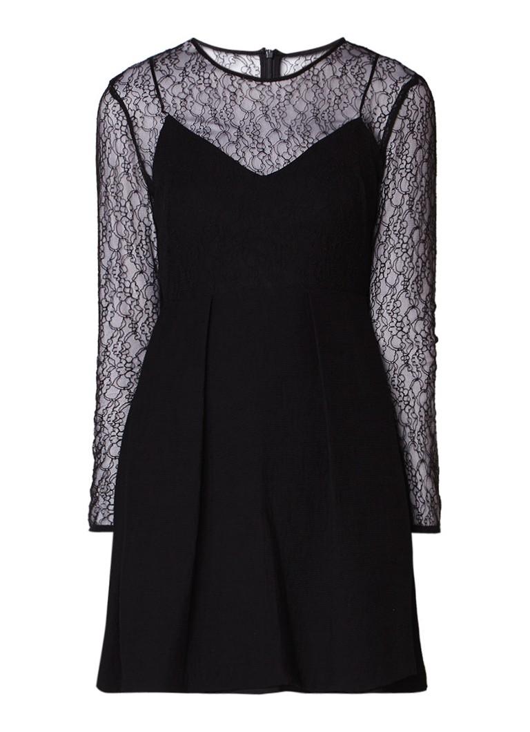 Sandro A-lijn jurk met top van kant zwart