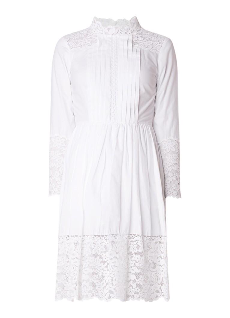 Sandro A-lijn jurk met kant en plissé wit