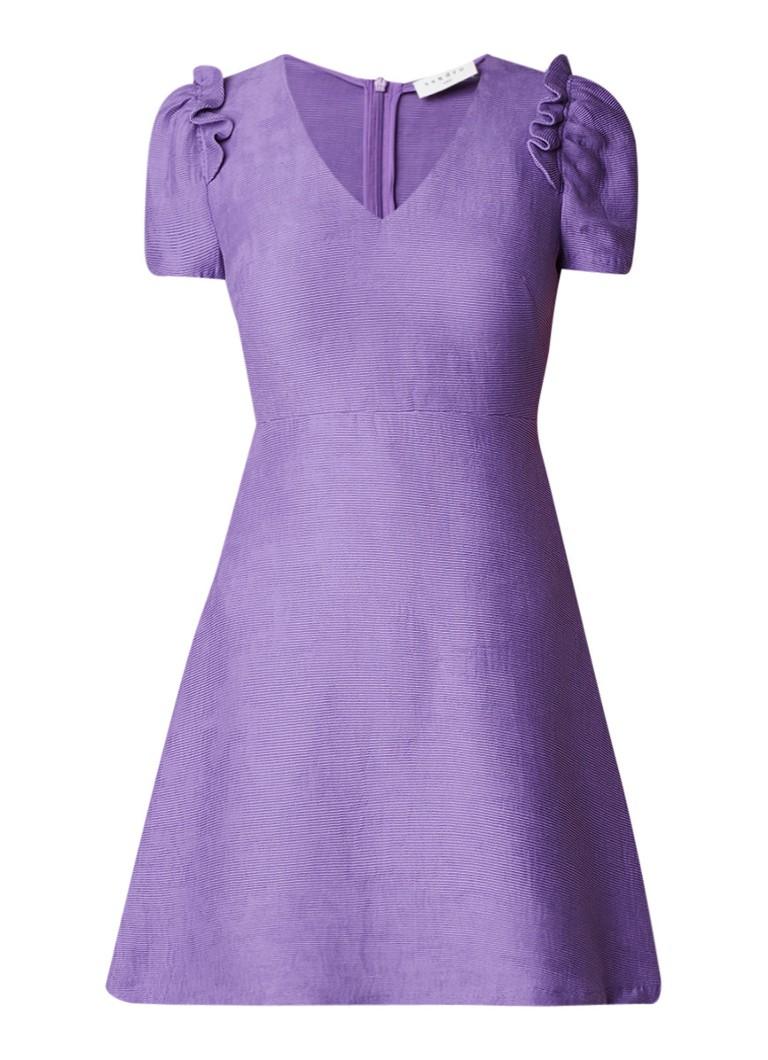 Sandro A-lijn jurk met ruches en pofmouw paars