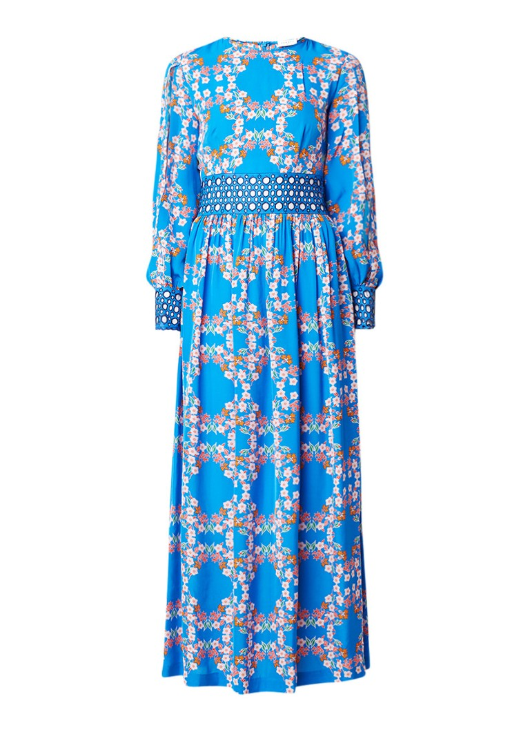 Sandro Maxi-jurk met opengewerkt detail en dessin turquoise