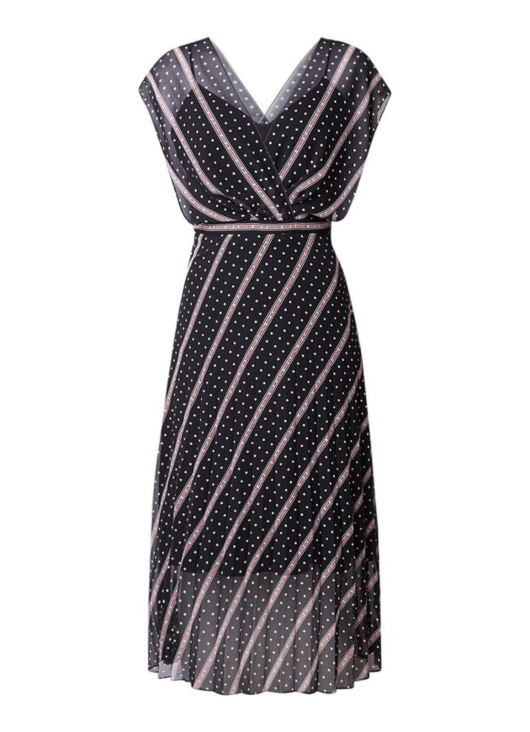 Sandro A-lijn jurk met stippen- en tekstdessin zwart