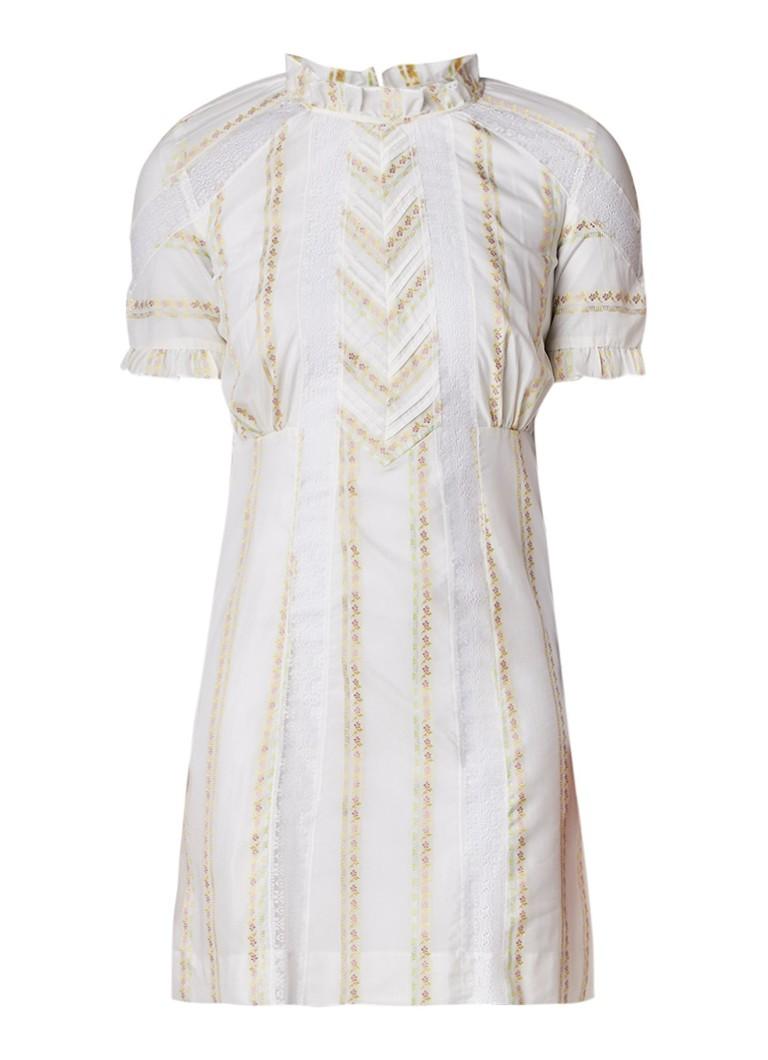 Sandro Midi-jurk met inzet van kant en ruches gebroken wit
