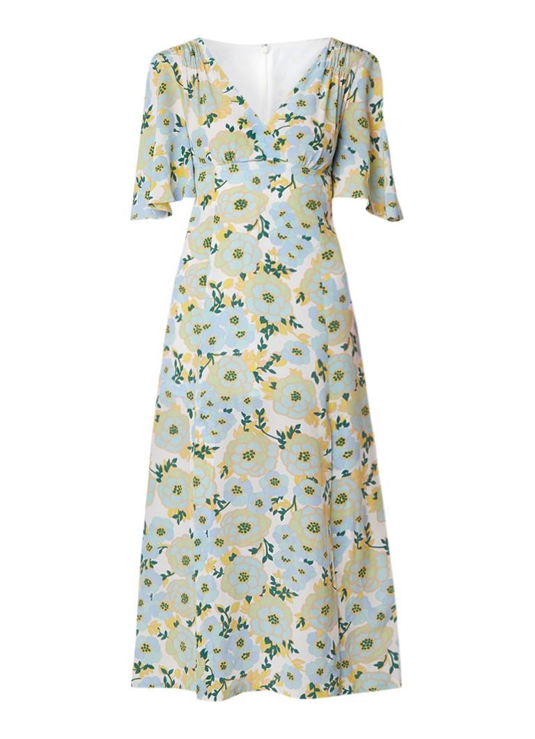 Sandro Maxi-jurk van zijde met bloemendessin mint