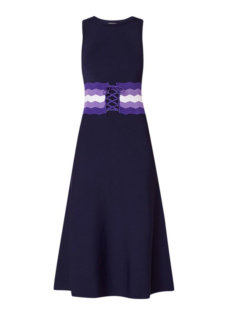 Sandro Gebreide A-lijn jurk met korsetdetail donkerblauw