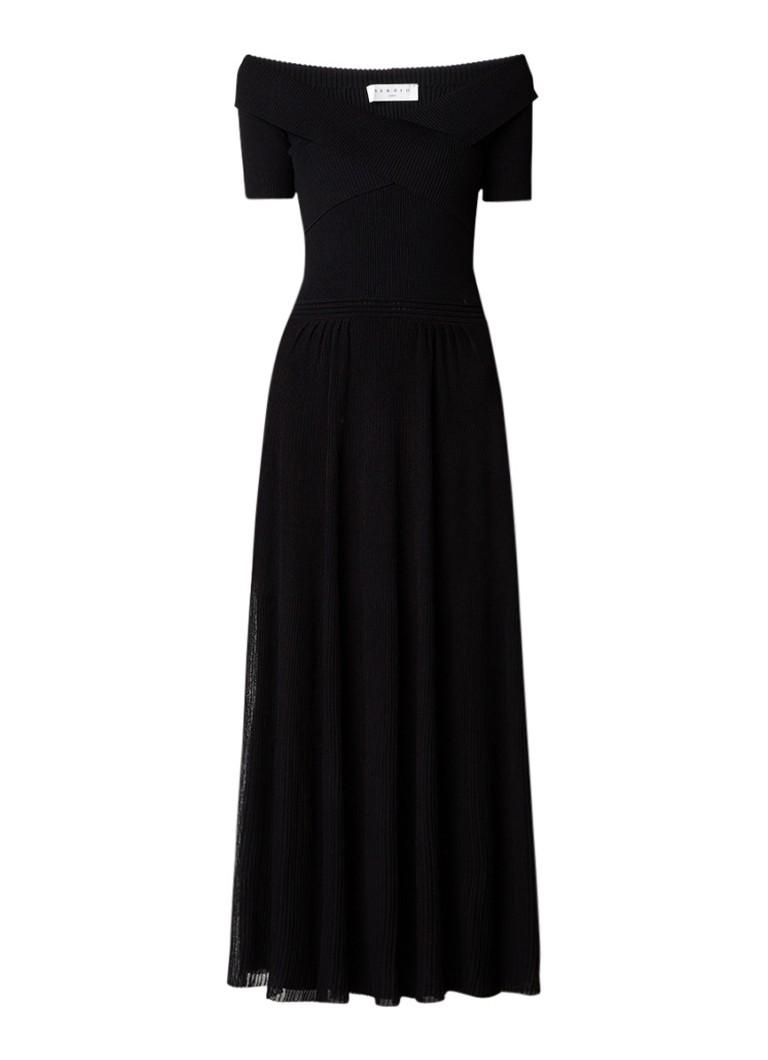 Sandro Ribgebreide A-lijn jurk met overslag zwart