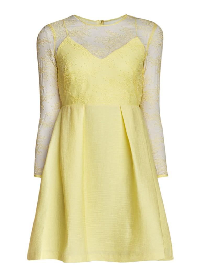 Sandro A-lijn jurk met top van kant lichtgeel