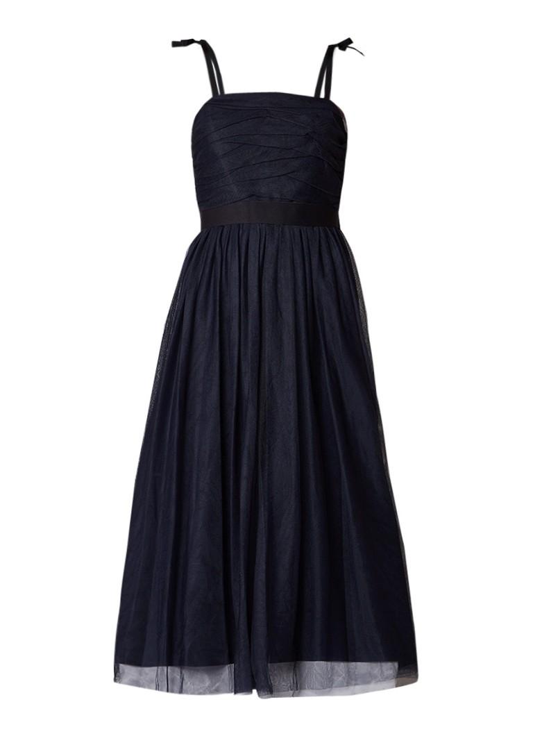 Sandro A-lijn jurk met tule en contrasterende tailleband donkerblauw