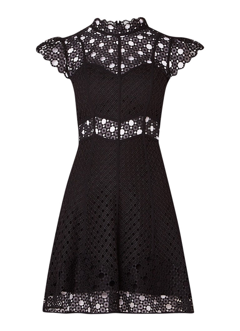 Sandro Semi-transparante A-lijn jurk van guipure kant zwart