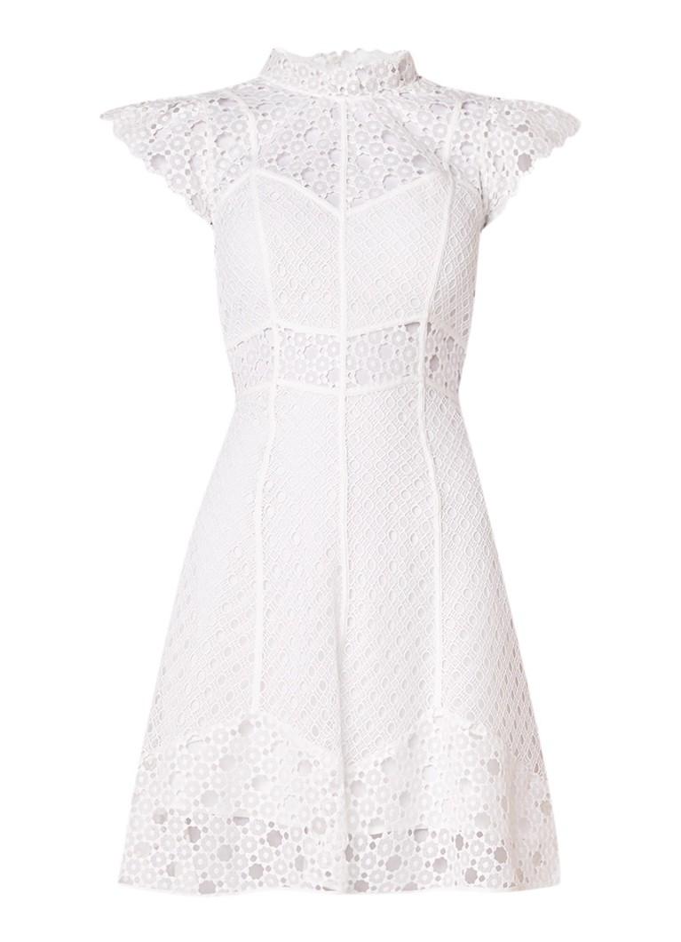 Sandro Semi-transparante A-lijn jurk van guipure kant gebroken wit