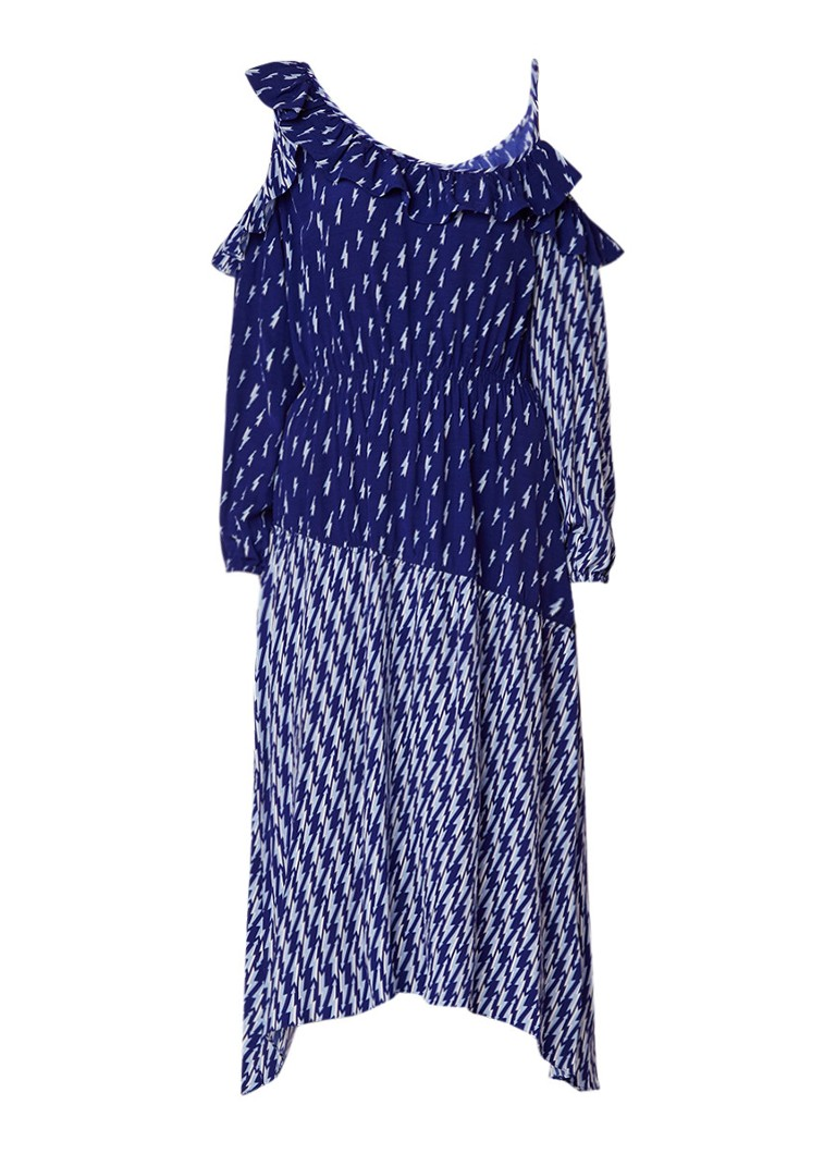 Sandro Maxi-jurk met cold shoulder en ruches royalblauw