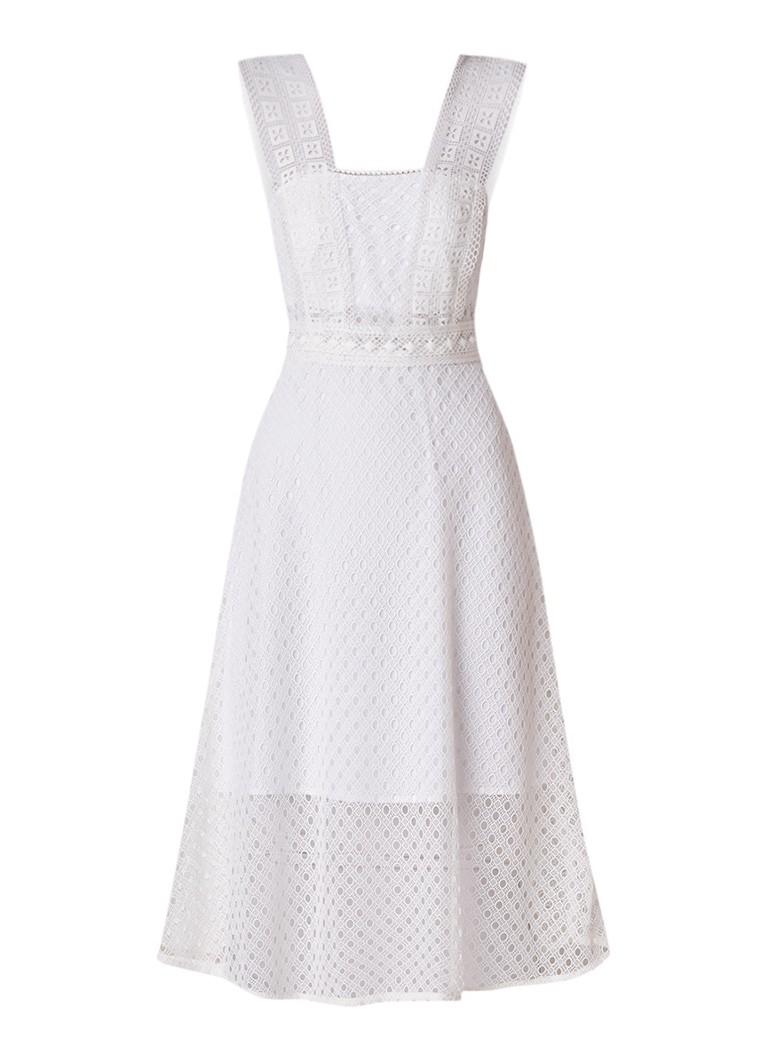 Sandro Mouwloze A-lijn midi-jurk met broderie wit