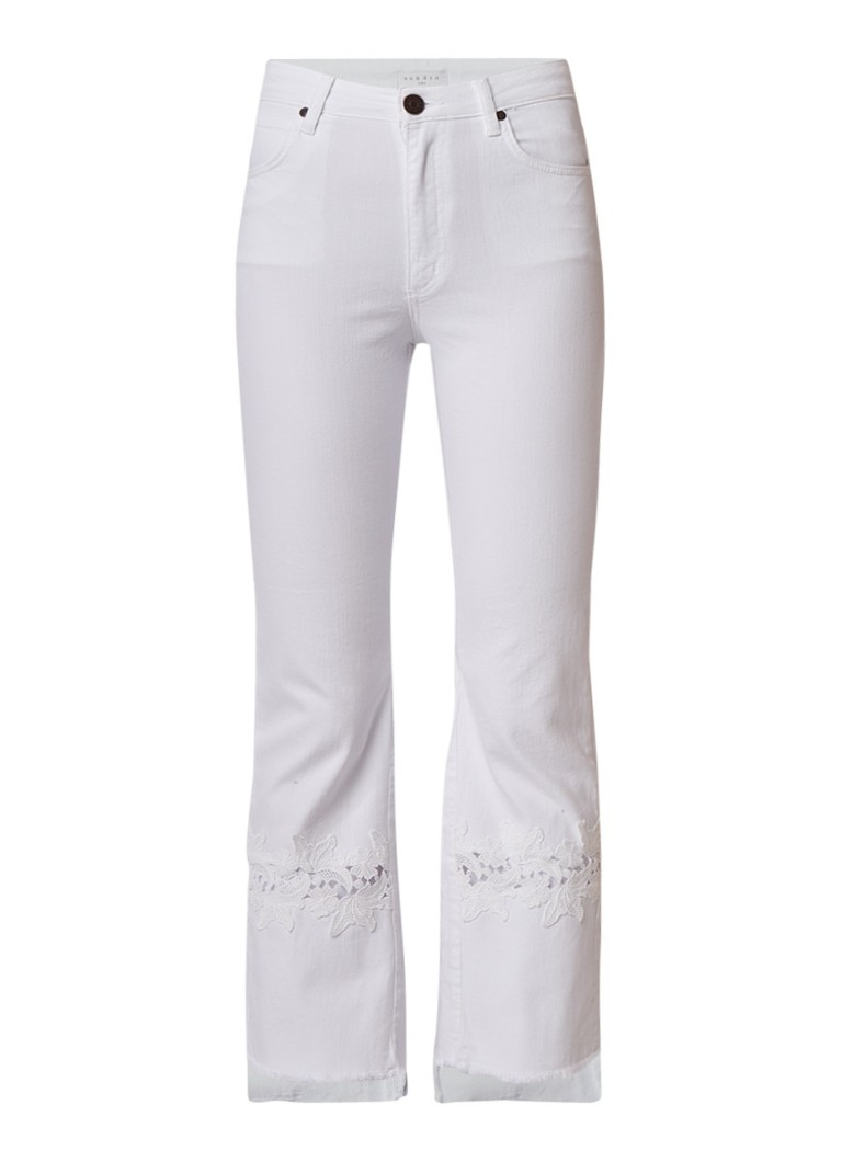 Sandro High rise flared jeans met inzet van kant