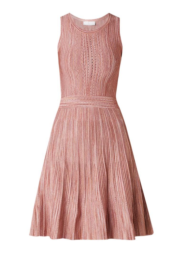 Sandro Fijngebreide gemêleerde A-lijn jurk met lurex roze