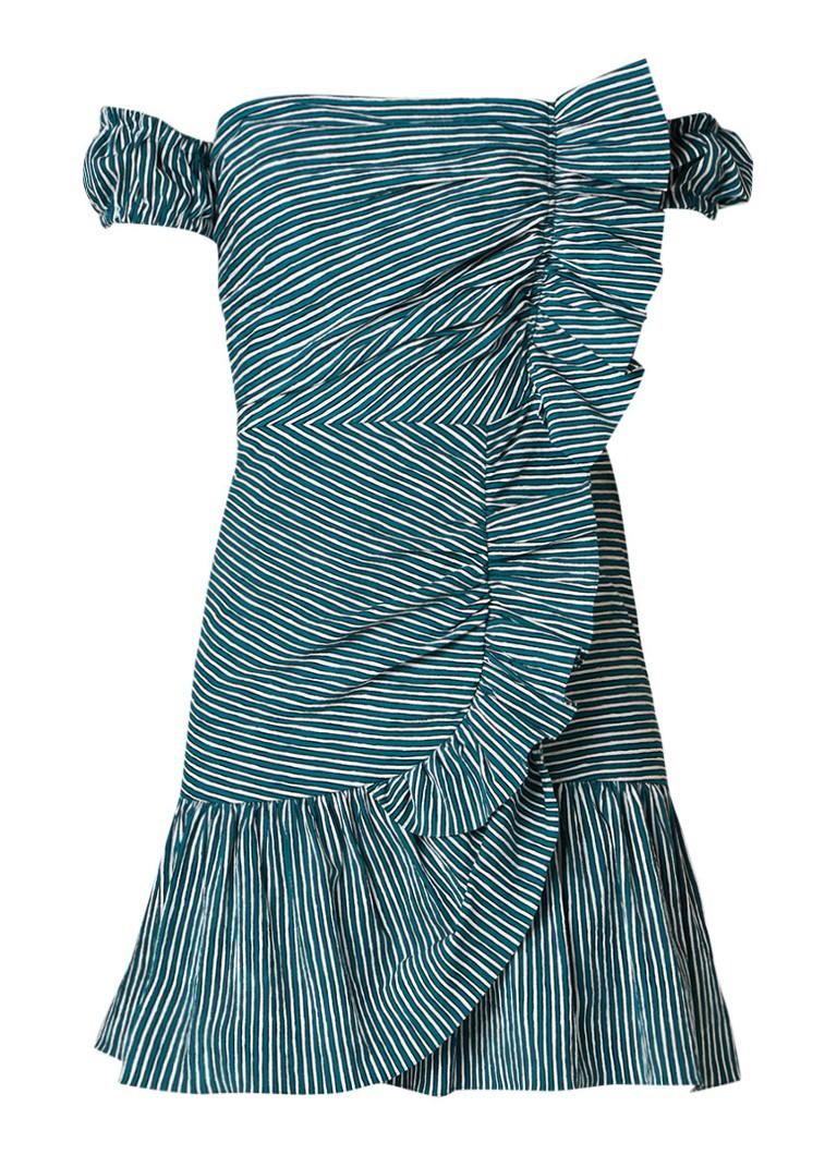 Sandro Off shoulder mini-jurk met volant en streepdessin donkergroen