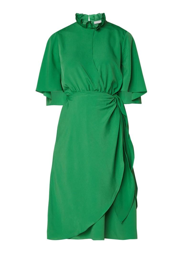 Sandro A-lijn jurk met volant en overslag groen