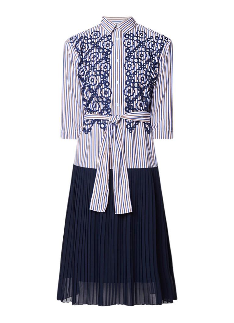 Sandro Gestreepte blousejurk met broderie en plissé donkerblauw
