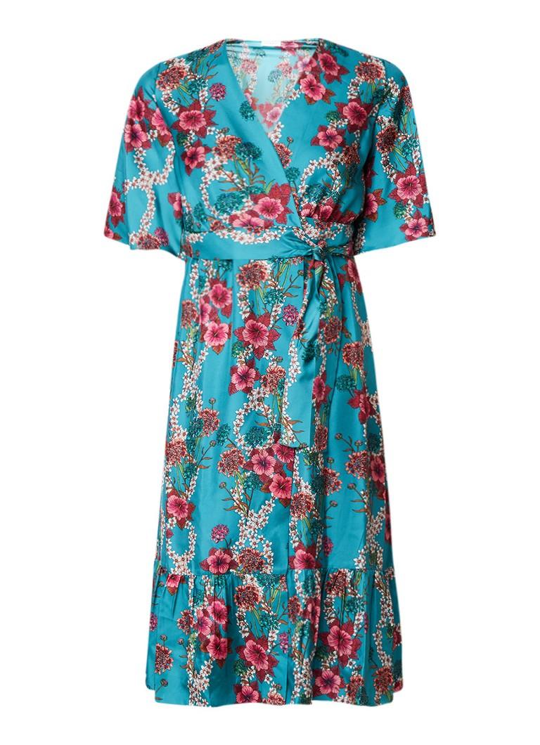 Sandro Midi wikkeljurk van zijde met bloemendessin turquoise