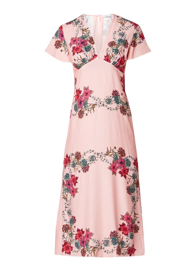 Sandro Midi-jurk met diepe V-hals en bloemendessin roze