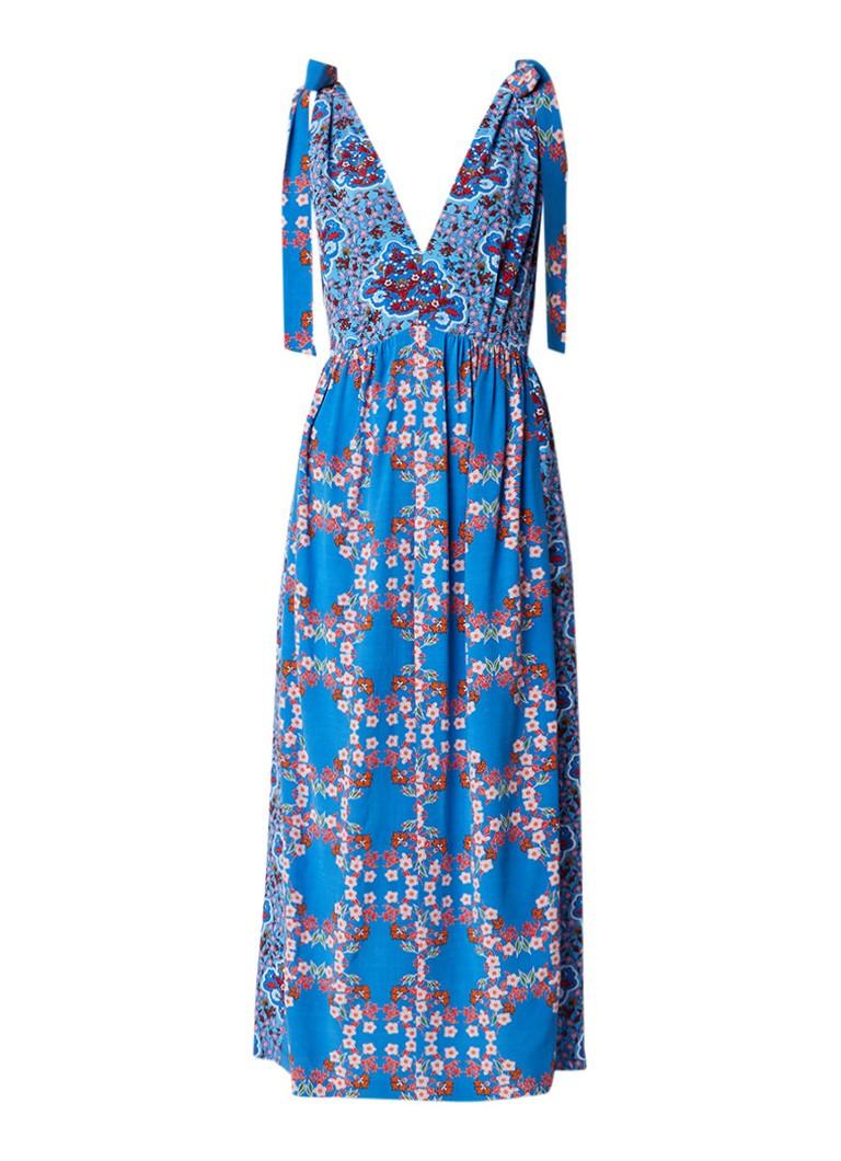 Sandro Maxi-jurk in bloemendessin met split en onderjurk turquoise