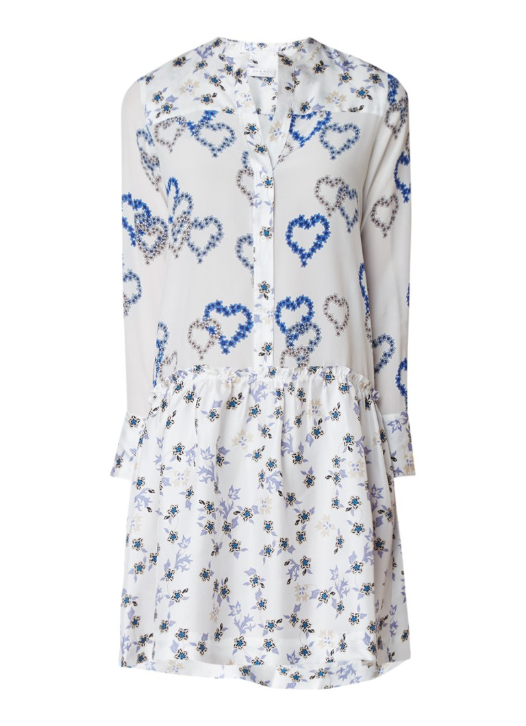 Sandro Midi blousejurk van zijde met bloemendessin en volant wit
