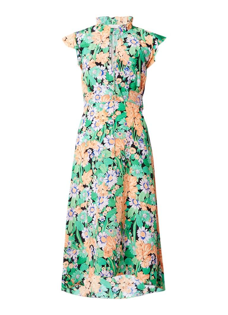Sandro Midi-jurk van zijde met strikceintuur bloemendessin groen