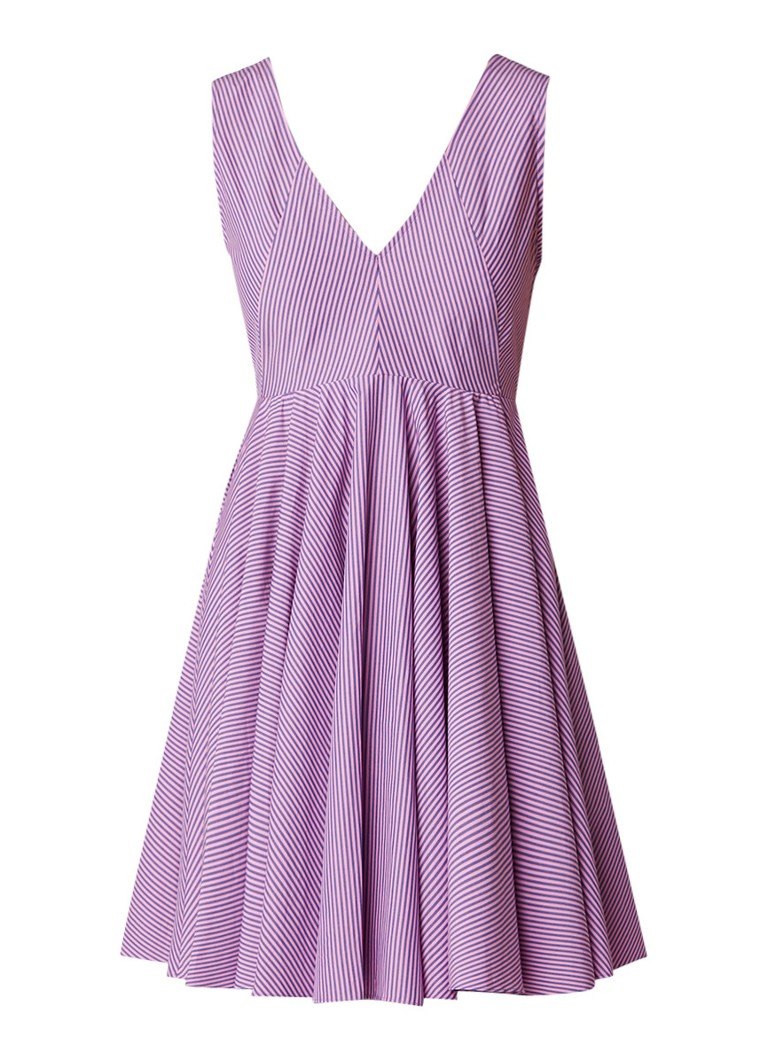 Sandro A-lijn jurk met plooien en streepdessin lichtpaars