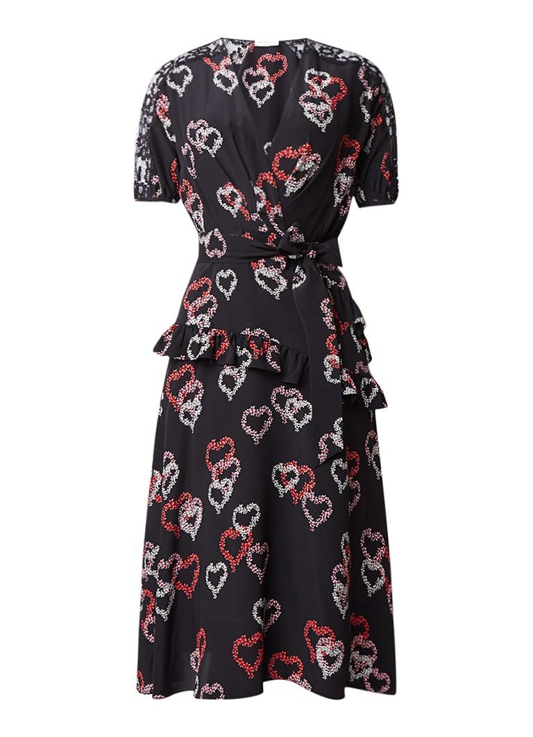 Sandro Midi-jurk van zijde met volant en strikceintuur zwart