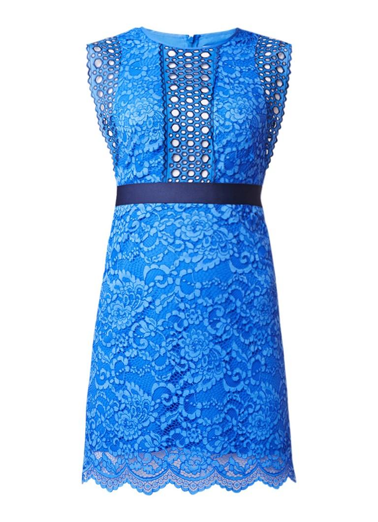 Sandro A-lijn jurk met broderie en kant blauw