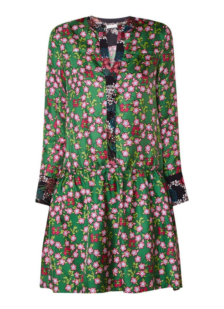 Sandro Sandro jurk van zijde met bloemendessin groen