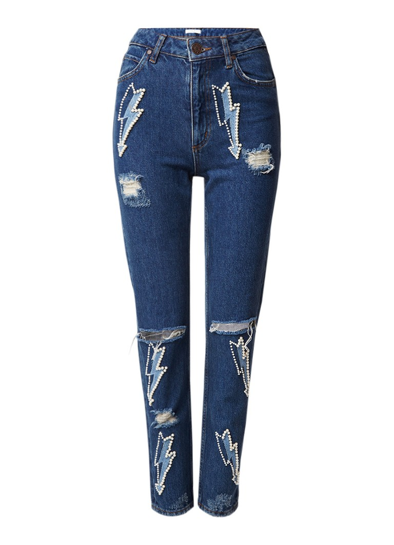 Sandro High rise relaxed fit jeans met parel applicatie
