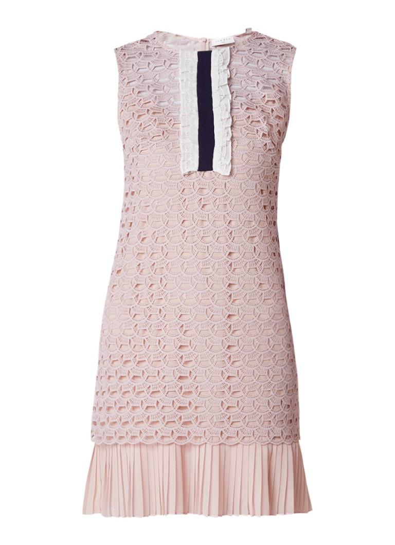Sandro Mouwloze jurk met ruches en plissézoom lichtroze