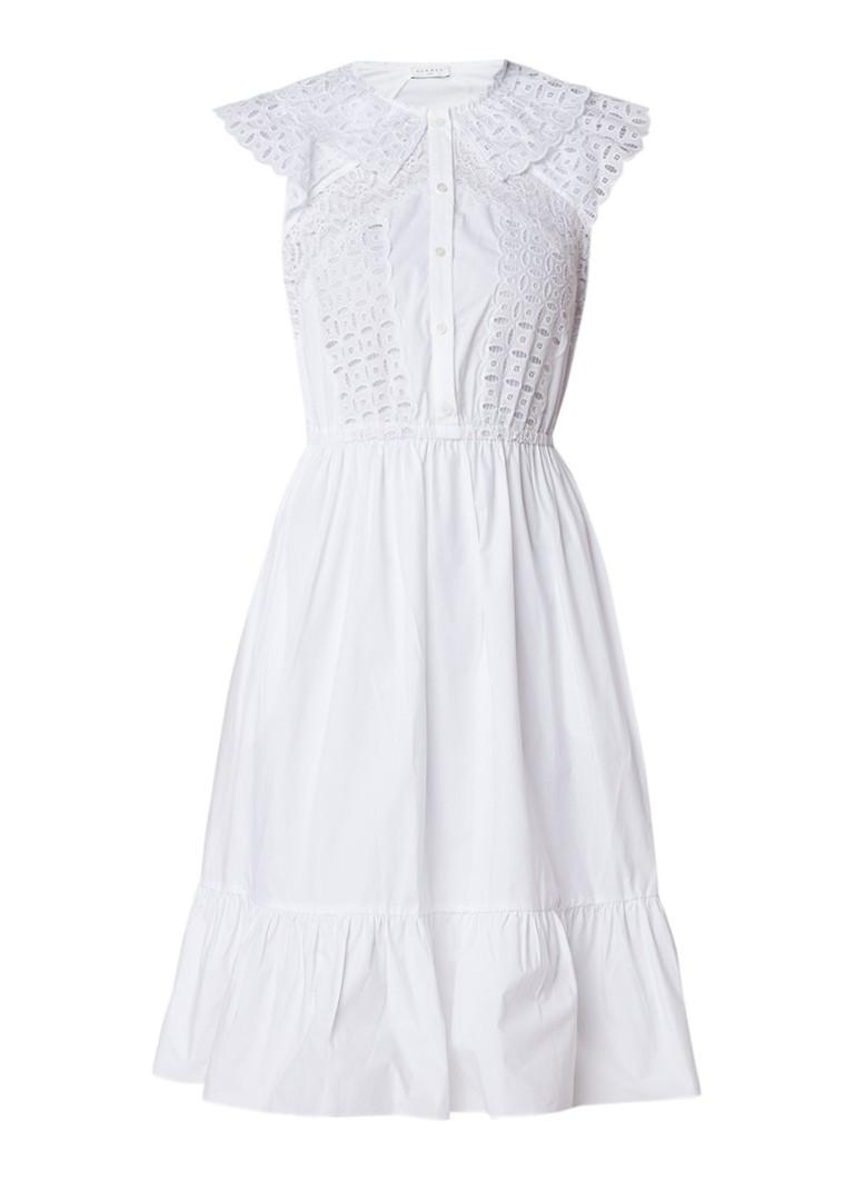 Sandro A-lijn jurk met broderie en volantzoom wit