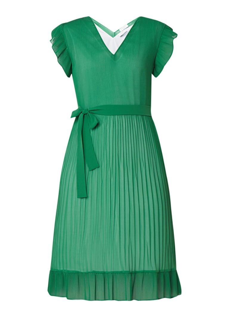 Sandro Geplisseerde jurk met strikceintuur groen