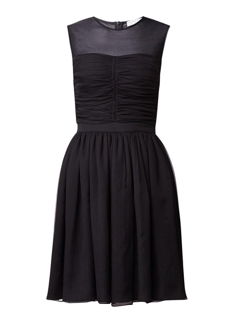 Sandro A-lijn jurk van zijde met geplooide details zwart