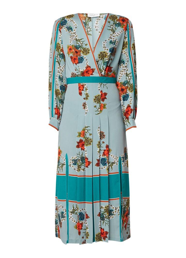 Sandro Maxi-jurk met bloemendessin en plissé lichtblauw