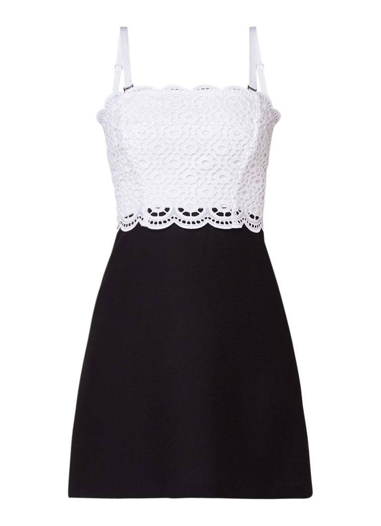 Sandro A-lijn jurk met guipure kant en afneembare bandjes zwart