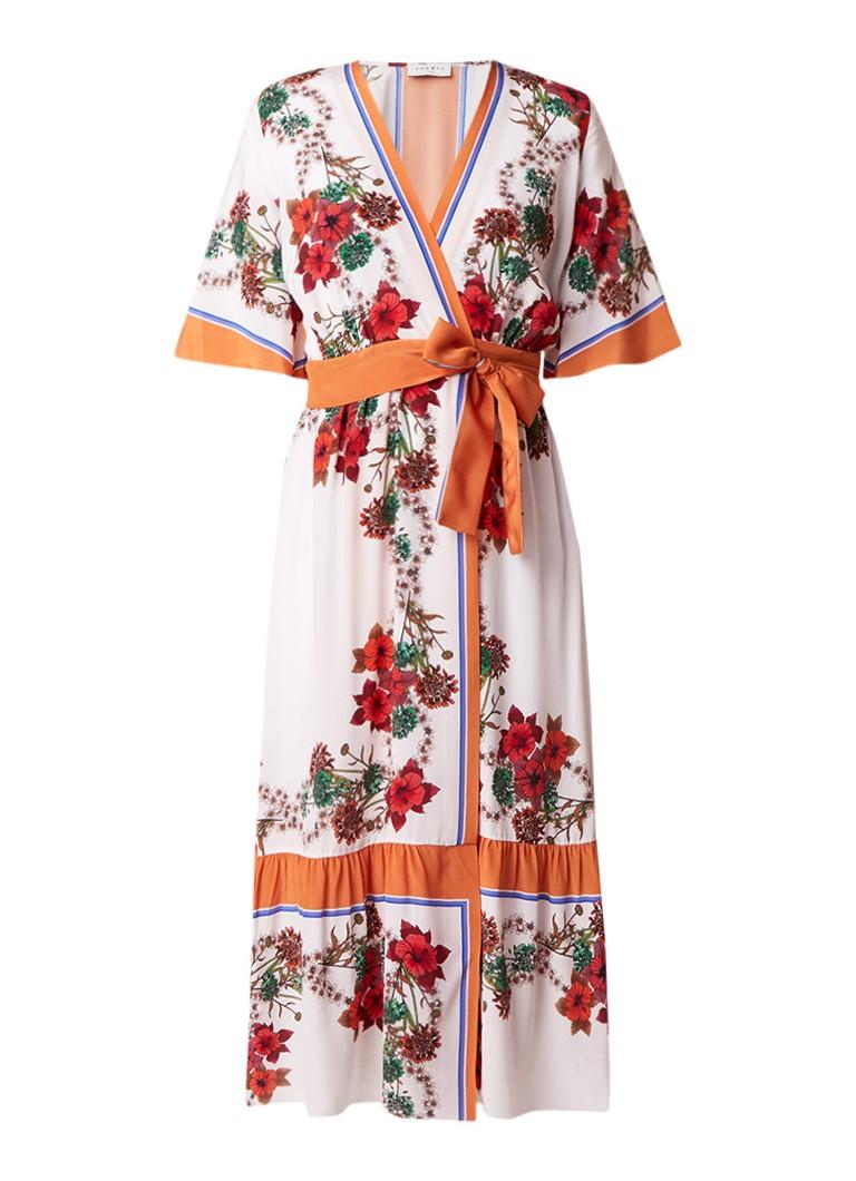 Sandro Wikkeljurk met bloemendessin in kimono look gebroken wit