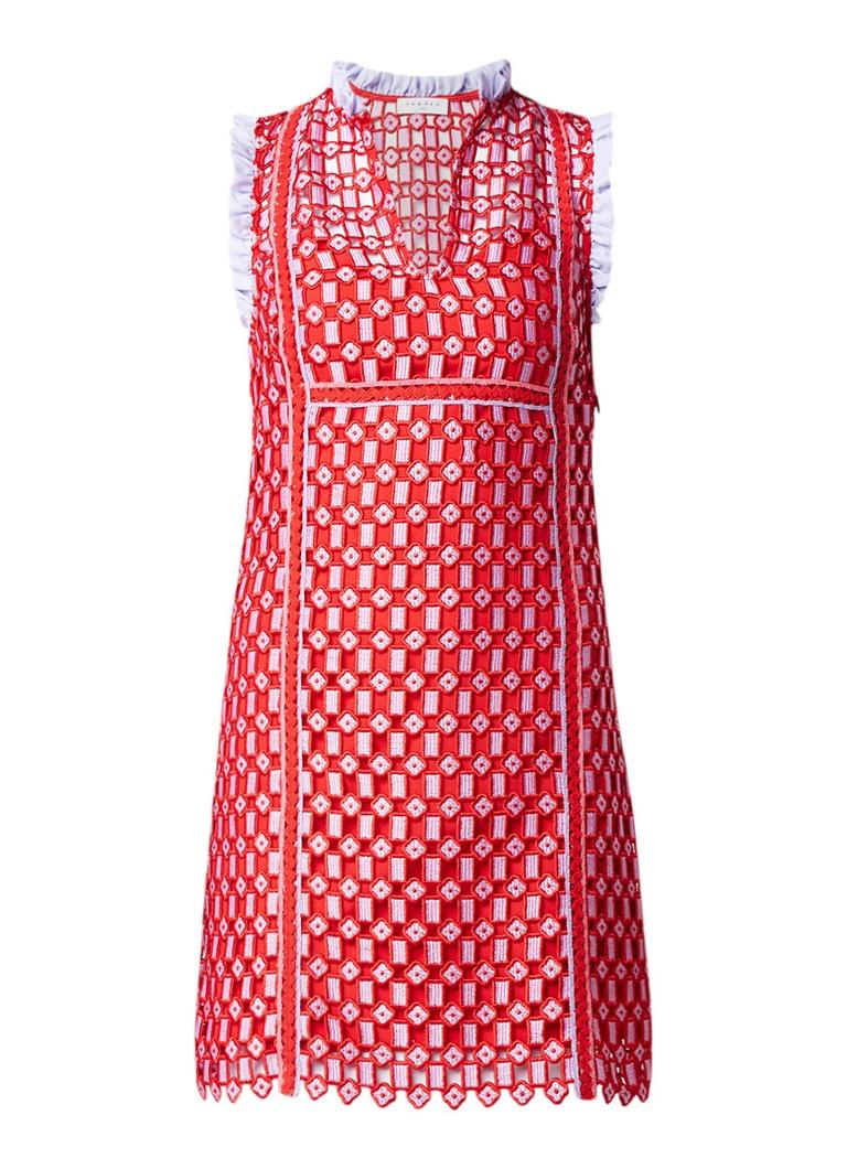 Sandro Mini-jurk met overlay van kant en ruches rood