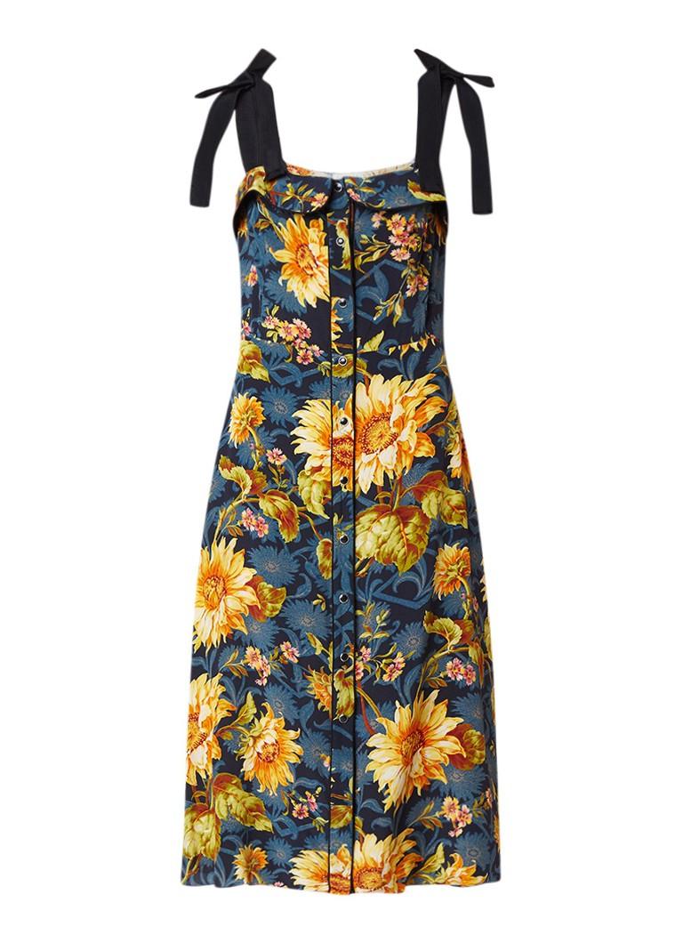 Sandro A-ljn jurk van zijde met strikdetail en bloemendessin geel