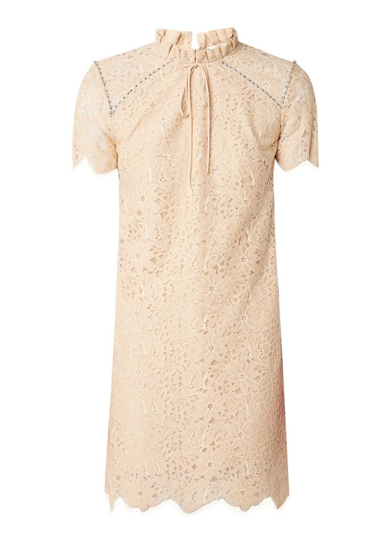 Sandro A-lijn jurk van gebloemd kant met strass creme