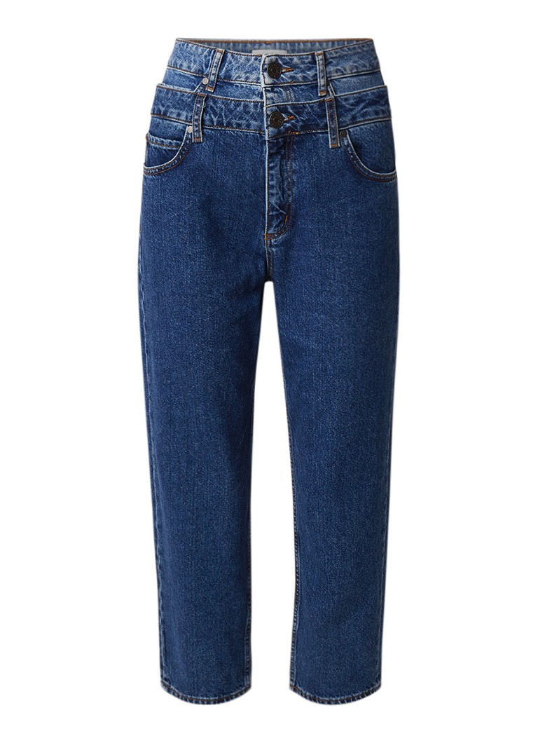 Image of Sandro High waist cropped straight fit jeans met faded look