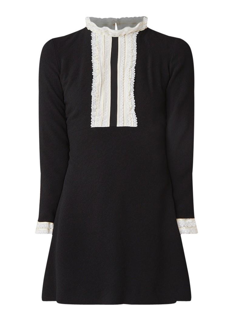 Sandro A-lijn midi-jurk met structuur en details van kant zwart