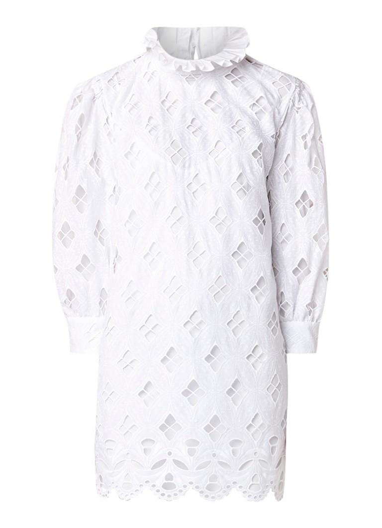 Sandro Mini-jurk met broderie en opstaande kraag wit