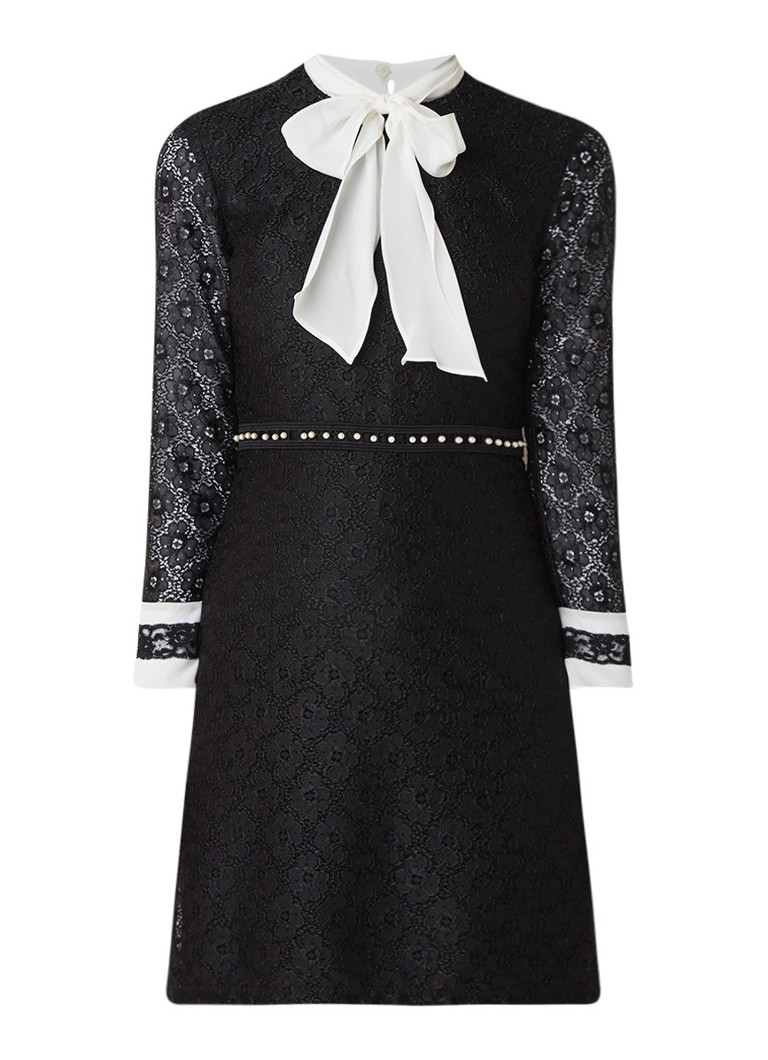 Sandro Mini-jurk van kant met strikkraag en imitatieparels zwart
