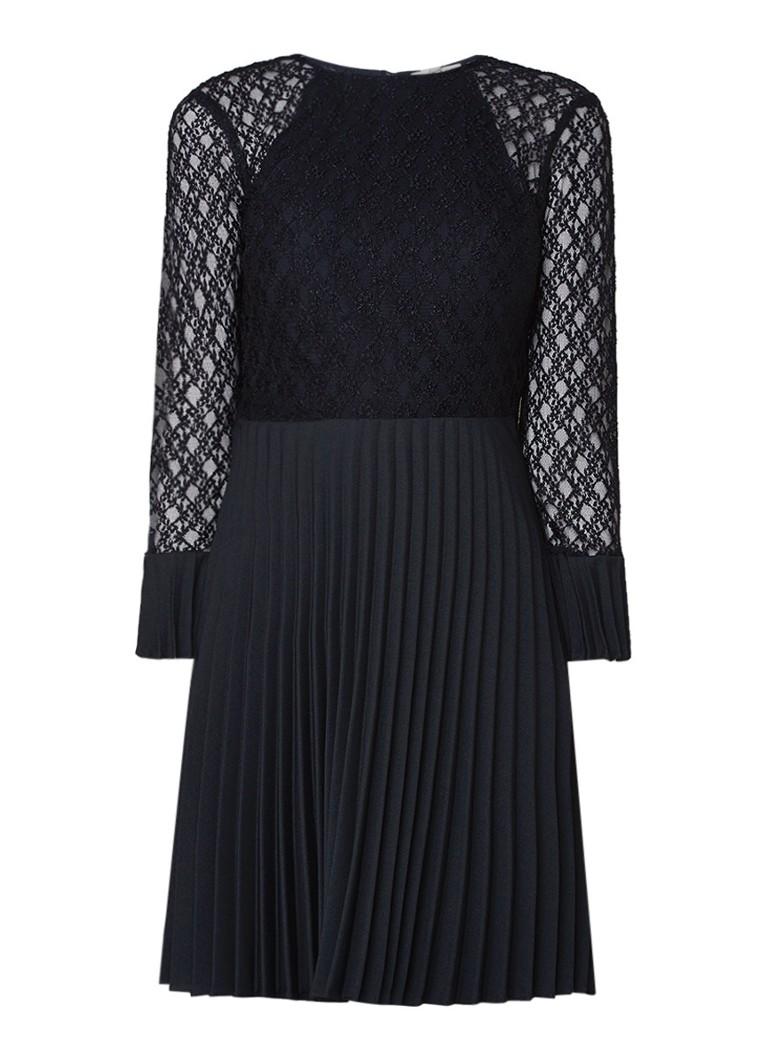 Sandro A-lijn jurk met kant en plissé donkerblauw