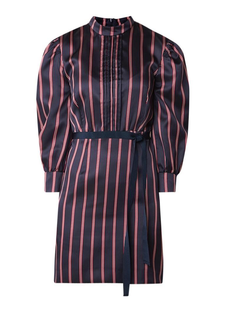 Sandro Mini-jurk met streepdessin en plooidetail donkerblauw