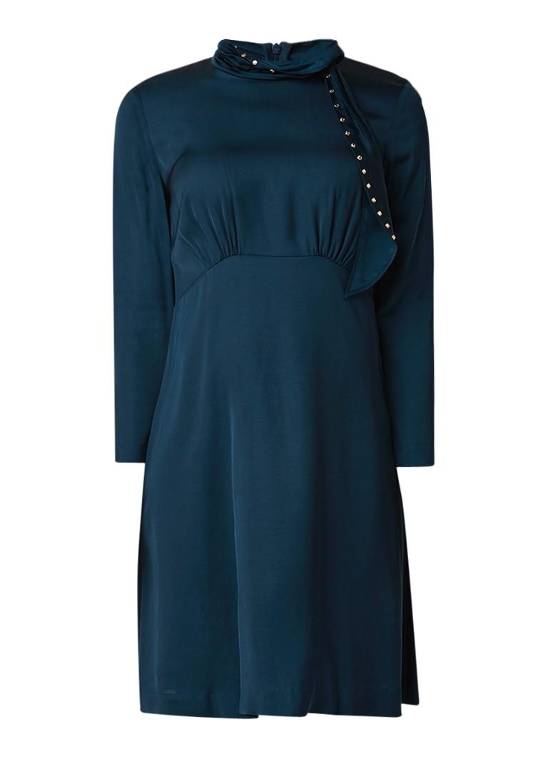 Sandro A-lijn jurk van satijn met strass en strikdetail zeegroen