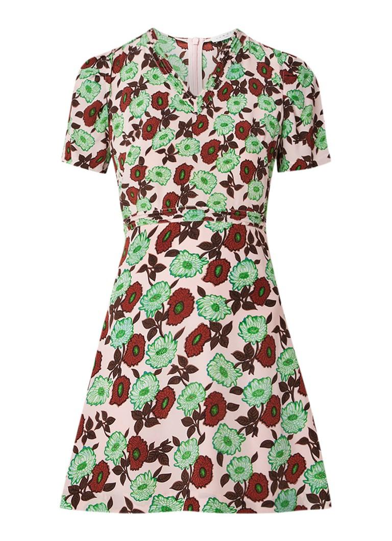Sandro A-lijn mini-jurk met bloemendessin groen