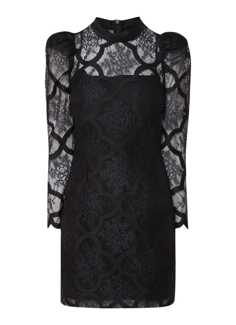 Sandro Midi-jurk van kant met col van zijde zwart