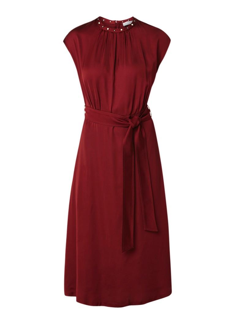 Sandro Midi-jurk van satijn met parelapplicaties rood